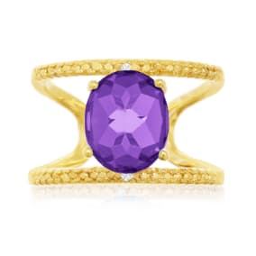 3 Carat Amethyst and Diamond Open Shank Ring In 14 Karat Yellow Gold Over Sterling Silver