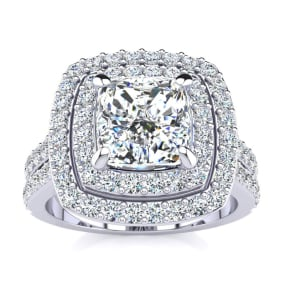 2 1/2 Carat Double Halo Diamond Engagement Ring in 14k White Gold