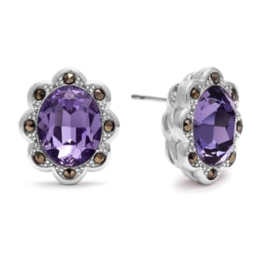 4ct Crystal Tanzanite and Marcasite Earrings. Shiny Vibrant Crystals With Mysterious Marcasite!