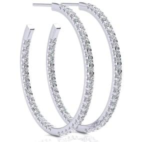 14K White Gold 2 Carat Diamond Three Quarter Hoop Earrings