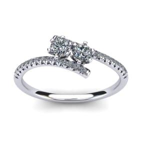 1/2 Carat Two Stone Diamond Ring In 14K White Gold