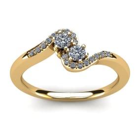 1/4 Carat Two Stone Diamond Swirl Ring In 14K Yellow Gold