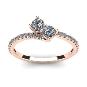 1/2 Carat Two Stone Diamond Bonded Love Ring In 14K Rose Gold
