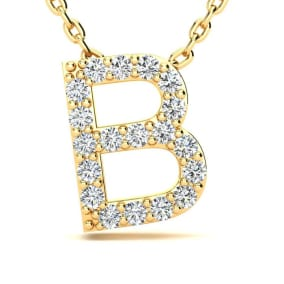 Letter B Diamond Initial Necklace In 14K Yellow Gold With 13 Diamonds