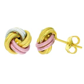 14 Karat Tri-Tone Yellow, White and Rose Gold Polish Finished 9mm Textured Love Knot Stud Earrings With Friction Backs