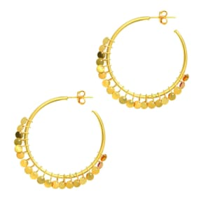 14 Karat Yellow Gold Polish Finished 30mm Disc Hoop Earrings With post with friction backs