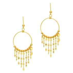 14 Karat Yellow Gold Polish Finished Circle Chandelier Earrings With Fishhook Backs, 1 1/2 Inches