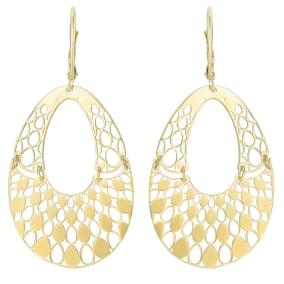 14 Karat Yellow Gold Polish Finished Swinging Teardrop Dangle Earring With Fishhook Backs, 1 1/2 Inches