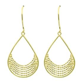 14 Karat Yellow Gold Polish Finished Teardrop Dangle Earrings With Fishhook Backs, 1 1/2 Inches