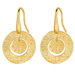 14 Karat Yellow Gold 17x17mm Mesh Bull's Eye Earrings With Fishhook Backs