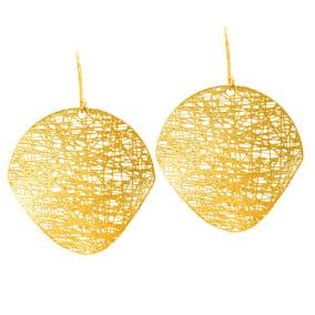 14 Karat Yellow Gold 25x25mm Mesh Disc Earrings With Fishhook Backs