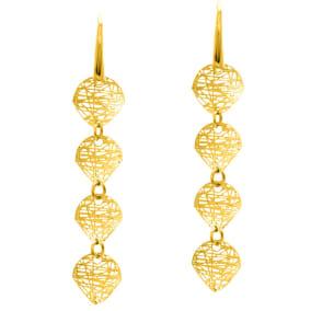 14 Karat Yellow Gold Circle Mesh Drop Earrings With Fishhook Backs, 1 1/2 Inches