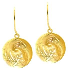 14 Karat Yellow Gold 25x25mm Circular Drop Earrings With Fishhook Backs