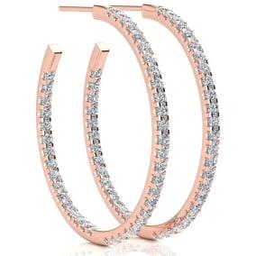 14K Rose Gold 2 Carat Diamond Three Quarter Hoop Earrings
