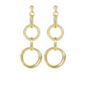 14 Karat Yellow Gold 2 Inch Textured & Shiny Double Oval Drop Earring On Ball Stud