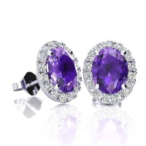 1 1/2 Carat Oval Shape Amethyst and Halo Diamond Stud Earrings In 14 Karat White Gold