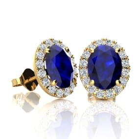 2 1/4 Carat Oval Shape Sapphire and Halo Diamond Stud Earrings In 14 Karat Yellow Gold