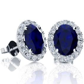 3 1/2 Carat Oval Shape Sapphire and Halo Diamond Stud Earrings In 14 Karat White Gold