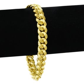 14 Karat Yellow Gold 6.70mm 8.50 Inch Miami Cuban Chain Bracelet