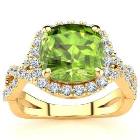 3 Carat Cushion Cut Peridot and Halo Diamond Ring With Fancy Band In 14 Karat Yellow Gold