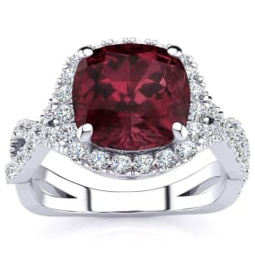 3 3/4 Carat Cushion Cut Garnet and Halo Diamond Ring With Fancy Band In 14 Karat White Gold