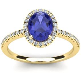 1 1/2 Carat Oval Shape Tanzanite and Halo Diamond Ring In 14 Karat Yellow Gold