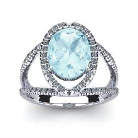 2 3/4 Carat Oval Shape Aquamarine and Halo Diamond Ring In 14 Karat White Gold