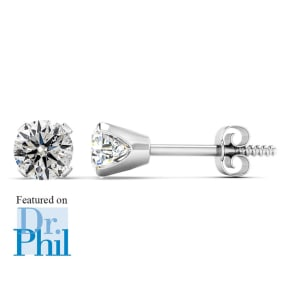 1/2 Carat Diamond Stud Earrings In 14 Karat White Gold Featured on Dr. Phil