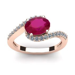 1 3/4 Carat Oval Shape Ruby and Halo Diamond Ring In 14 Karat Rose Gold