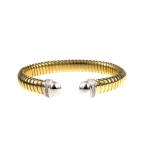 18 Karat Yellow & White Gold Ribbed Cuff with Diamonds