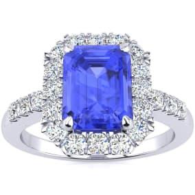 2 1/4 Carat Tanzanite and Halo Diamond Ring In 14 Karat White Gold