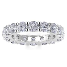 3 3/4 Carat Diamond Eternity Ring In 14 Karat White Gold, Ring Size 4