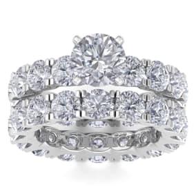 14 Karat White Gold 8 1/2 Carat Diamond Eternity Engagement Ring With Matching Band , Ring Size 4