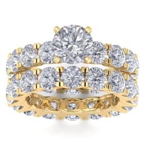 14 Karat Yellow Gold 8 1/2 Carat Diamond Eternity Engagement Ring With Matching Band, Ring Size 4