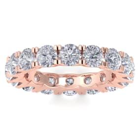 3 3/4 Carat Diamond Eternity Ring In 14 Karat Rose Gold, Ring Size 4