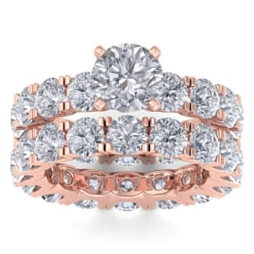 14 Karat Rose Gold 8 1/2 Carat Diamond Eternity Engagement Ring With Matching Band, Ring Size 4