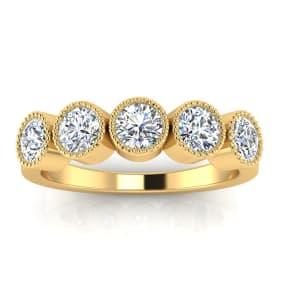 1ct Five Diamond Bezel Set Band in 14k YELLOW  Gold. Closeout!