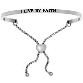 "Silver ""I LIVE BY FAITH"" Adjustable Bracelet"