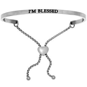 """Silver """"I'M BLESSED"""" Adjustable Bracelet"""