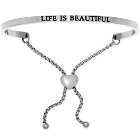 "Silver ""LIFE IS BEAUTIFUL"" Adjustable Bracelet"