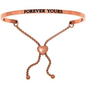 """Rose Gold """"FOREVER YOURS"""" Adjustable Bracelet"""