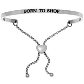 """Silver """"BORN TO SHOP"""" Adjustable Bracelet"""