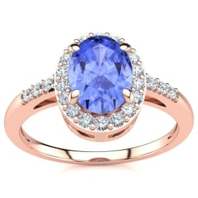 1 Carat Oval Shape Tanzanite and Halo Diamond Ring In 14K Rose Gold