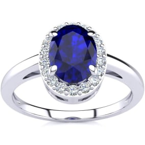 1 Carat Oval Shape Sapphire and Halo Diamond Ring In 14K White Gold