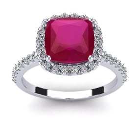 3 1/2 Carat Cushion Cut Ruby and Halo Diamond Ring In 14K White Gold