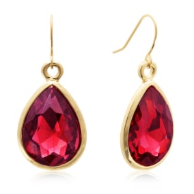 18 Carat Pear Shape Ruby Red Crystal Earrings, Gold Overlay