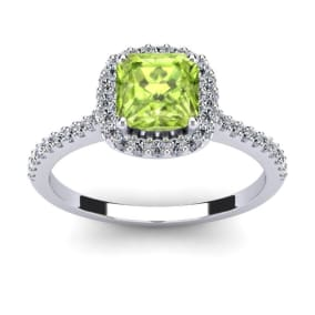 1 1/2 Carat Cushion Cut Peridot and Halo Diamond Ring In 14K White Gold