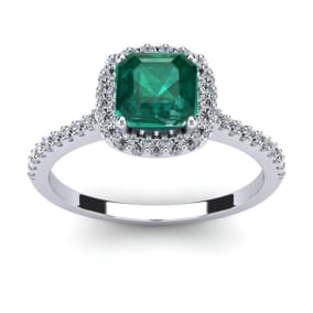1 1/2 Carat Cushion Cut Created Emerald and Halo Diamond Ring In 14K White Gold