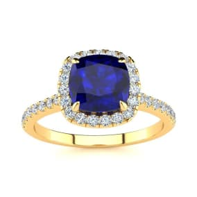 2 Carat Cushion Cut Sapphire and Halo Diamond Ring In 14K Yellow Gold