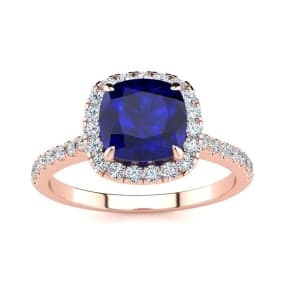 2 Carat Cushion Cut Sapphire and Halo Diamond Ring In 14K Rose Gold